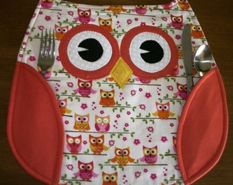 """Owl Placemats made with owl fabric, orange wings.  Wings hold silverware.  Size is 13"""" x 12""""."""