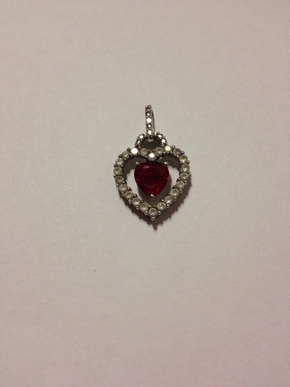Ruby Diamond Pendant Sterling Silver Enhancer Slide Charm Italian Italy 925 Necklace Jewlery Womens Gift Modernist Mod Boho Victorian Heart