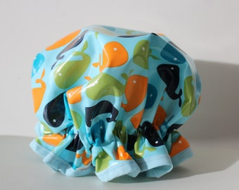 Shower Cap. Eco-Friendly. PVC BPA Free. Durable. Child And Adult Sizes. Laminated Cotton. Bath Gift