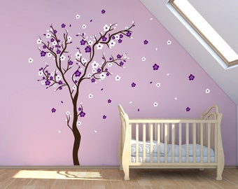 Stick On Wall Art Cherry Blossom Wall Decal Wall Sticker Decals Baby Girl  Room Decor Personalized