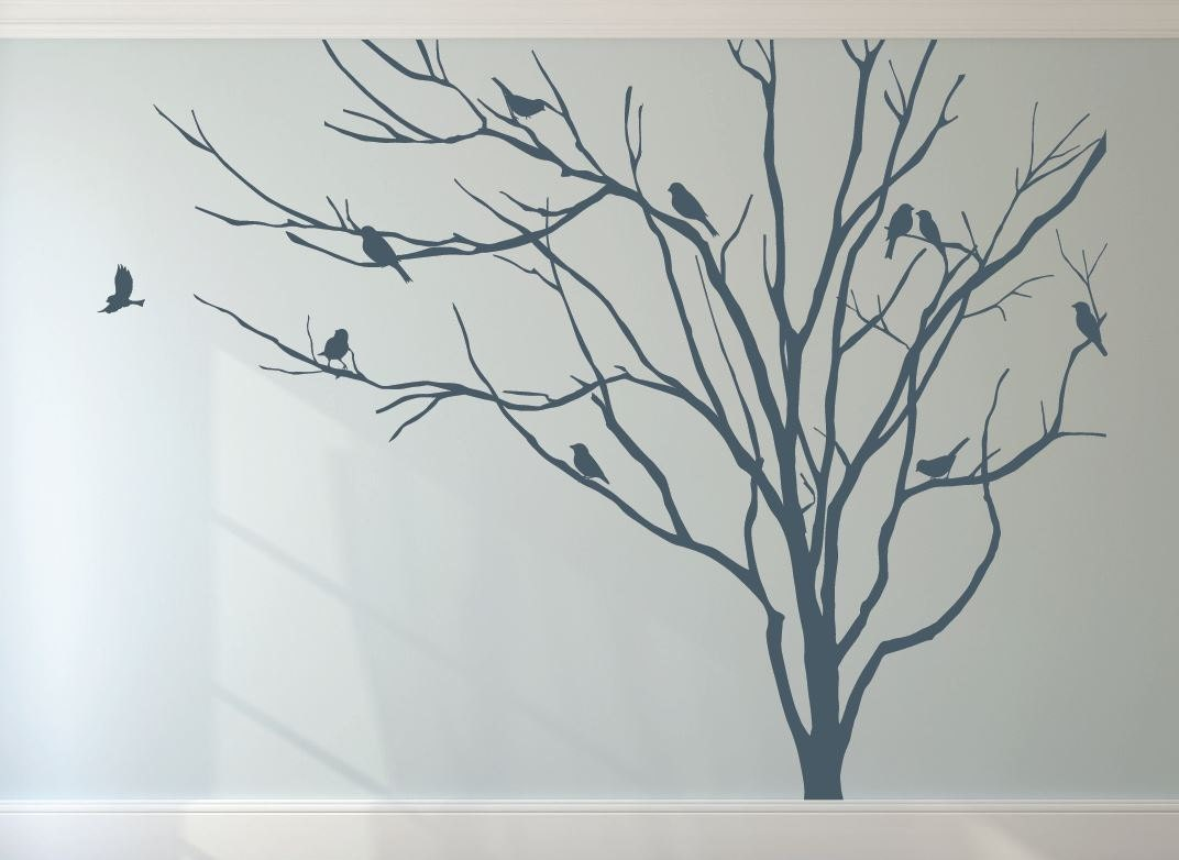 Wall And Window Decals Realistic Winter Tree Stick On Wall Art