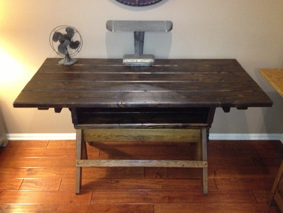 Mid century hamilton 49j2 drafting table base repurposed for Cuir center table basse