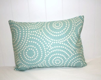 Decorative 12x16 Lumbar pillow, Blue and White Swirl