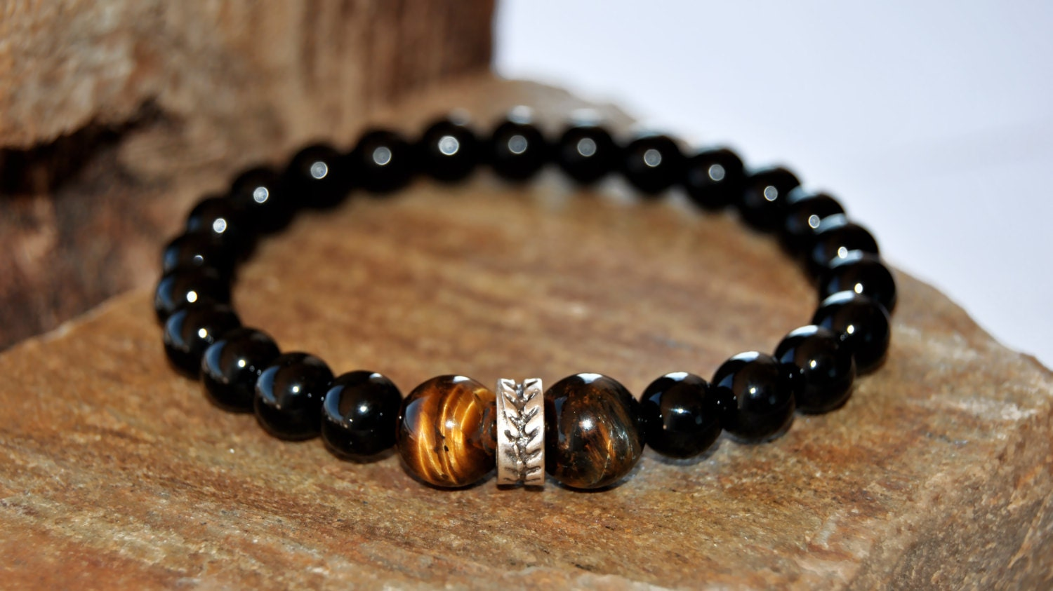 Men Bracelet, Men's Beaded Bracelet, Gemstone Men Bracelet, Onix Stone,  Mens Bracelet