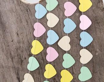 Pastel paper garland bunting, wedding garland decor, easter garland, heart garland, party home decor, nursery banner kids children birthday