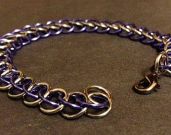 Purple and Black Ice Half Persian Chainmaille Bracelet