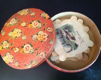 6 asian woven bamboo coasters in hand-painted box marked Japan