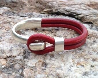 Sailwinds Nautical Bracelet - Blackbeard - Cranberry Half Cuff Leather Bracelet Hand-Crafted in Maine