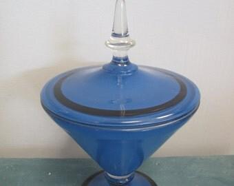 Cobalt Blue Vintage Glass Candy Dish
