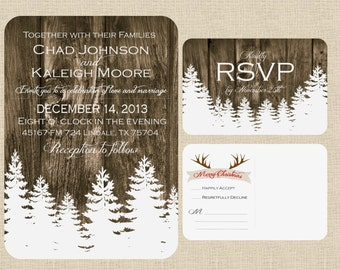 Christmas Winter Wedding Invitation; Barnwood, Christmas Trees & Antlers