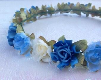 MISAKI (VIII) Blue Light Blue and Cream Floral Headband