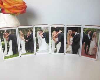 Personalized Handmade Wedding Photo Wood Blocks perfect for home, wedding gift, engagement gift Set of 6