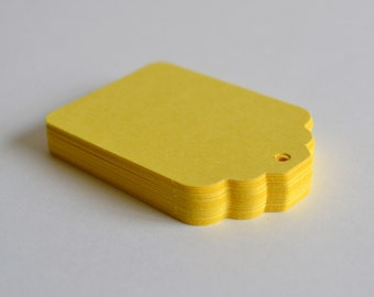 yellow scalloped hang tags, yellow price tags, yellow gift tags, yellow favor tags- 30 tags