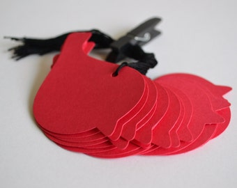 red bird hang tags with string, bird hang tags, bird gift tags, red bird gift tags, red bird wedding favor tags- 15 tags