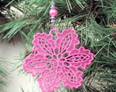 Snowflake Christmas Ornaments, Machine Embroidered Lace, Mary Kay PInk