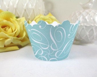 12 Aqua Cupcake Wrappers, Pool Blue Wedding Cupcake Wrappers, P Is For Paris Shower Cupcake Wrappers, Turquoise Blue Cupcake Wrappers