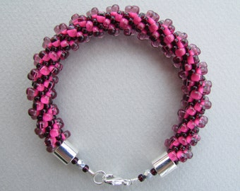 Berry Pink Magatama Kumihimo Bracelet