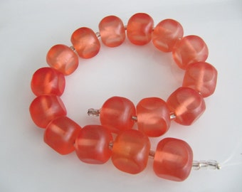 16 Tangerine Acrylic Beads, Frosted, Transparent, Square, 16mm