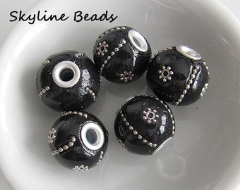 Indonesia Beads, Handmade, Black with Silver Embellishments