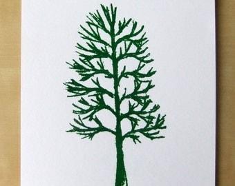 Handmade Screen Printed Tree Print A5