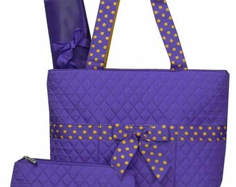 Machine Embroidered Quilted Diaper Bag-Blue or Orange or Purple Or Maroon