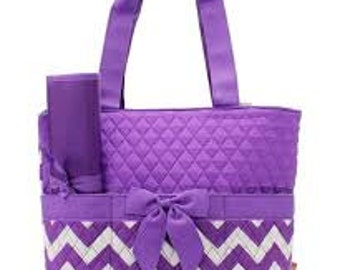 Machine Embroidered Quilted Diaper Bag- Purple Chevron Print.  Includes FREE Personal Embroidery