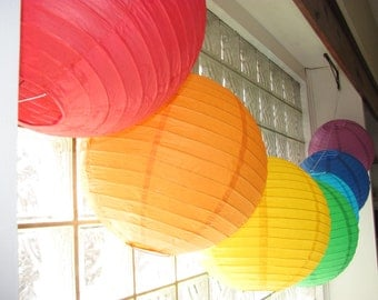 Rainbow Lover's Set of Seven 12-inch Hanging Paper Lanterns
