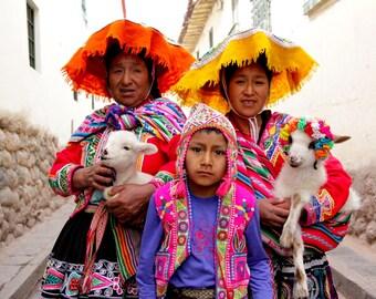 Cusco Kids Color Photograph; Peruvian Family Portrait; Cusco, Peru Color Photo; Vibrant Peruvian Cultural Print