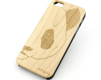 W88 Wood Case for Apple Iphone 5C - Half Panda