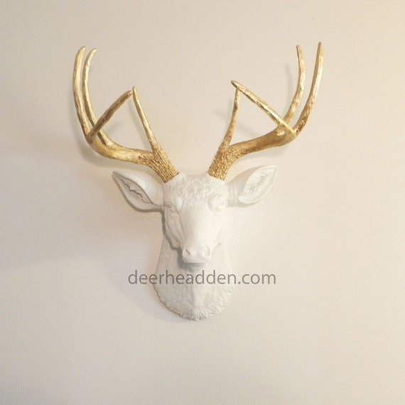 r sine blanche deer head t te de cerf faux faux taxidermie. Black Bedroom Furniture Sets. Home Design Ideas