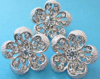 Rhinestone buttons - Lot 3 floral glass rhinestone silver metal buttons - large silver metal shank buttons lot - 25mm