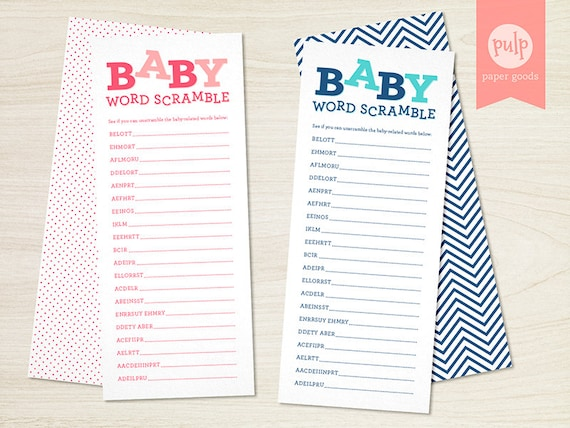 PRINTED ITEM: Baby Word Scramble - Baby Shower Game