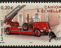 Fire Engine Camion A Echelle Fire Truck -Handmade Framed Postage Stamp Art 14875