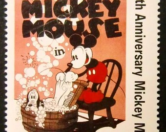 Mickey Mouse & Pluto -Walt Disney's The Mad Dog -Handmade Framed Postage Stamp Art 14665