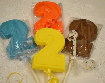 "Chocolate Number Two ""2"" Lollipops for 2nd birthdays"