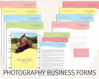 Photography business forms kit pastel colors style editable templates - 13 psd files supplied