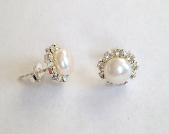 Pearl Earrings - 8 mm White Freshwater Pearl Stud Earrings with rinestones around, fresh water pearl earrings, JEW000078