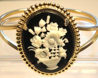 Faux Floral Cameo Cuff Bracelet