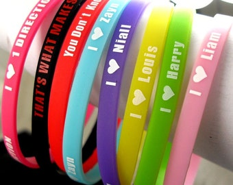 Set Of 8 I Love One Direction Silicone Wristbands With Member Names