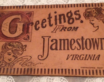 Antique Leather Postcard, 1907, Edwardian Era, Greetings from Jamestown, with Gibson Girls Image.