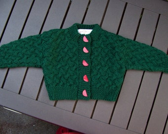 Hand knit Watermelon Sweater for a Special Baby