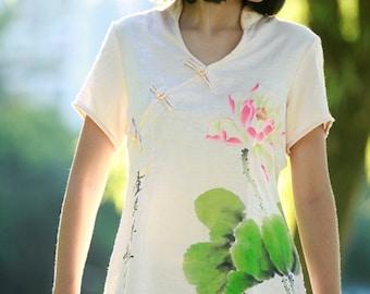Hand Painted Women's Shirt Top V-Neck Summer Short Sleeve
