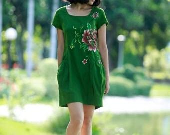 Summer Dress Womens Long Dress Summer Dresses Long Dresses Maxi Dress Maxi Dresses Hand Painted Dress Green Dress Plus Size Dress Linen