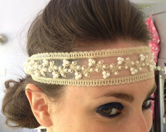 1920s Gatsby headband Pearl and Lace Flapper Headband