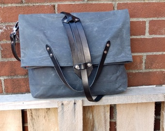 Waxed Canvas Foldover Messenger Bag with Leather Straps/Handles-Large Charcoal Gray Bag Perfect for Laptop, Work, School, or Traveling