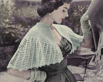 EASY Capelet, Romantic Shoulder Wrap, Vintage Crochet Pattern, INSTANT DOWNLOAD pdf