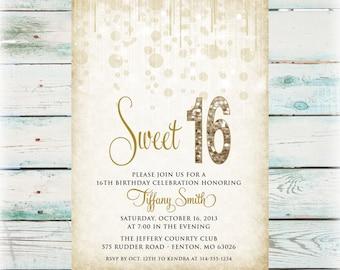 Printable Glitz Sweet 16 Birthday Invitation - Girl Birthday Invite - Digital File