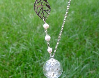 Botanical real dry flowers necklace  Dandelion wish seed necklace Silver leaf and Pearls necklace