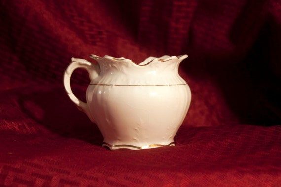 Antique 1900s Smith Phillips Fenix Semi Porcelain Small Pitcher Creamer with Handpainted Gold Trim