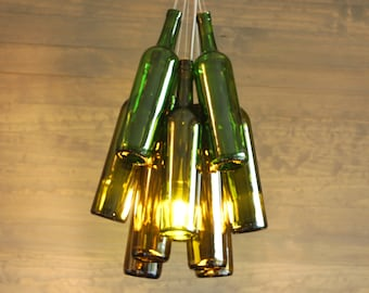 Upcycled Ombre Wine Bottle Chandelier